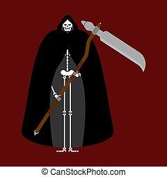 死, cloak., 刈り取り機, 黒, 岬, 厳格
