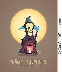 死, illustration., 特徴, concept., ハロウィーン, ベクトル, scythe., 漫画