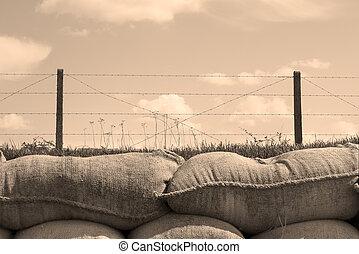 死, trenches, 1(人・つ), 砂袋, ベルギー, 世界, 戦争
