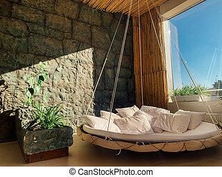 残り, 植物, ベッド, 部屋, 緑