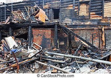 残物, house., 焦がされる, 下方に, 燃えた, 台なし