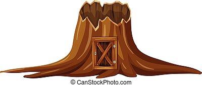 殘干, 樹, 由于, 木制的門