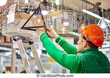 段ばしご, 使うこと, ランプ, 労働者, ネジ, 倉庫, 電球