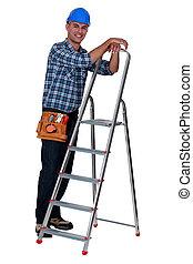 段ばしご, 労働者