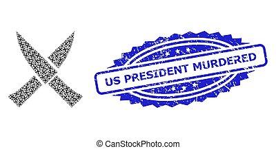 殺された, 大統領, recursion, アイコン, 苦脳, 構成, シール, 私達, ナイフ, 交差