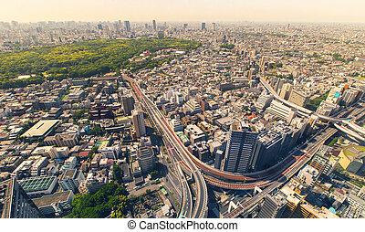 殺到, 新宿, 時間, 東京, 朝, 大きい, の間, 航空写真, 交差点, ハイウェー, 光景