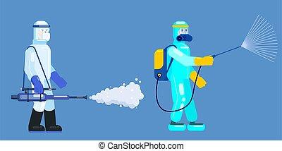 殺菌しなさい, 平ら, 科学者, 病気, 予防, 殺菌する, スプレー, ベクトル, スーツ, スタイル, 化学物質, ...