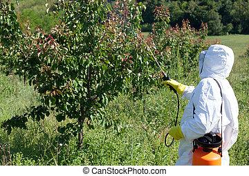 殺虫剤, スプレーをかける