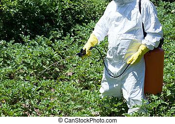 殺虫剤, non-organic, spraying., vegetables.