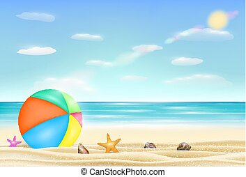 殻, ヒトデ, 砂, ボール, 海, 浜