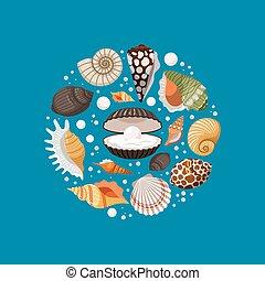 殻, 漫画, デザイン, 海, 旗, ラウンド