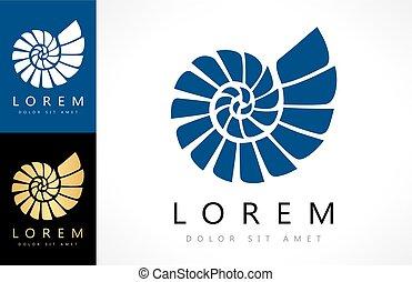 殻, vector., 軟体動物, logo.