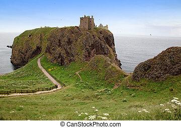 毀滅, ......的, dunnottar 城堡, 蘇格蘭, 英國