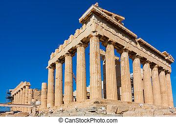 毀滅, ......的, parthenon, 寺廟, 在, 衛城