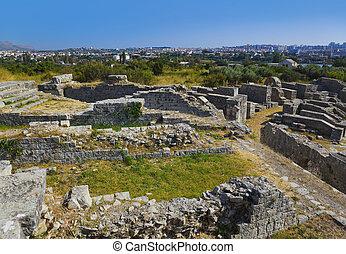 毁灭, 在中, the, 古代, amphitheater, 在, 分裂, 克罗地亚