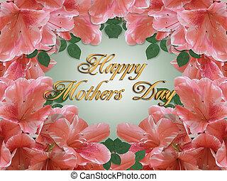母の日, カード, ボーダー, アザレア