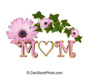 母の日, カード, 心, 3d, グラフィック