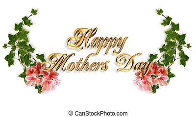 母の日, カード, 花のボーダー