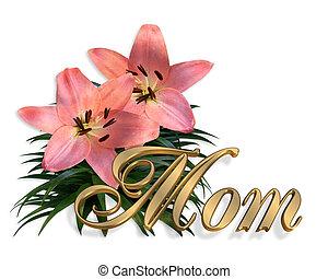 母の日, ピンク, ユリ, 花, カード