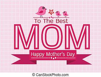 母亲, 问候, 你, 设计, 妈妈, 天, 卡片, 开心