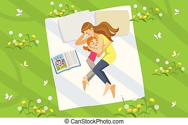母性, dreams., 時間, ベクトル, 幸せ, 娘, 母, illustration., child-rearing., nature., relaxing., 家族, 出費, 読書, イラスト, 漫画, 甘い, 芝生, 本, 概念
