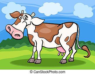 母牛, 農場動物, 卡通, 插圖