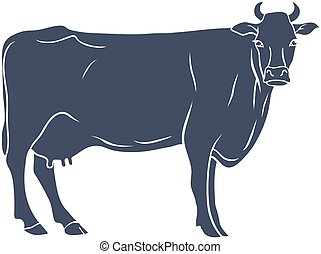 母牛, 黑色半面畫像, 被隔离, 在懷特上, 背景。, 矢量