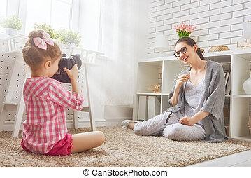 母親和女兒, 做, 相片