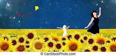 母親和女兒, 步行, 在, a, 向日葵, 領域