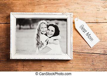 母親節, composition., 圖片, frame., 木制, 背景。, studi