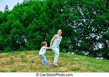 母親遊び, 幸せ, 夏, 息子, park.