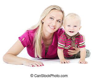 母親遊び, 幸せ, 1(人・つ), 床, 子供, あること, 年