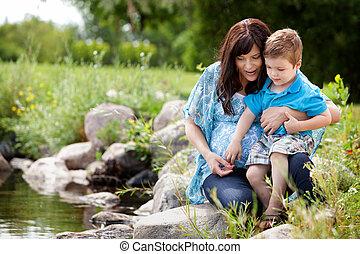 母親遊び, 湖, 息子