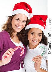 母親, 以及, 青少年, 女儿, 聖誕節