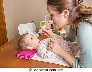 母親, 清掃, 粘液, ......的, 把當嬰儿看待用, 鼻, aspirator
