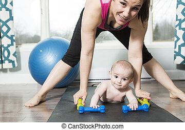 母親, 跟孩子一起, 男孩, 做, 健身, 鍛煉