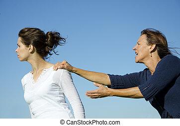 母親, escalating, daughter., 辯論, 在之間