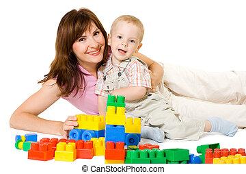 母, そして, 子供, 遊び, ブロック, おもちゃ, 幸せな家族, 肖像画, お母さん, ∥で∥, ベビーの子供, プレーしなさい, カラフルである, おもちゃ