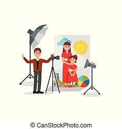 母, そして, 彼女, 娘, ポーズを取る, 中に, 写真の スタジオ, カメラマン, の間, 射撃, ベクトル, イラスト