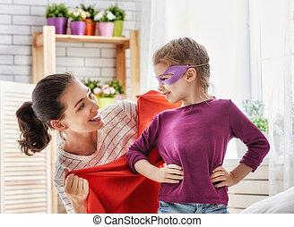 母, そして, 彼女, 子が遊ぶ