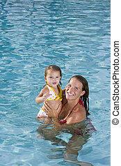 母, そして, 若い娘, 楽しむ, プール