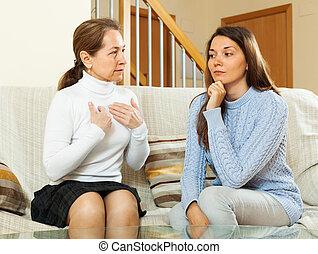 母, ∥で∥, 十代, 娘, 持つこと, 会話