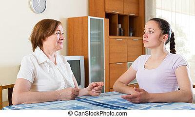 母 と 娘, 持つこと, 会話