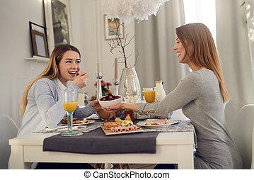母 と 娘, 持つこと, a, 会話