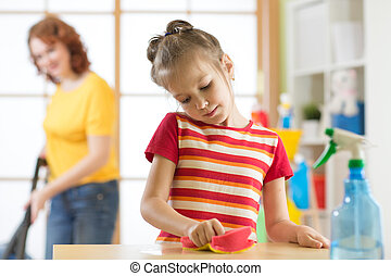 母 と 娘, 清掃, 中に, 反響室