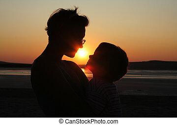 母 と 子供, 上に, 日没