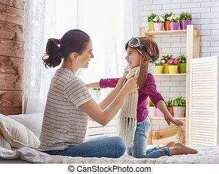 母 と 子供, 女の子, 遊び
