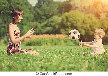 母 と 息子, 球を すること, 中に, ∥, park.