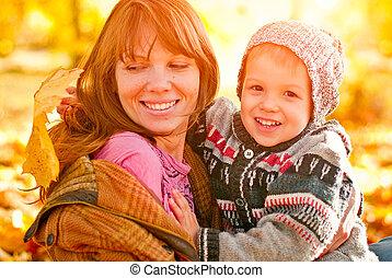 母 と 息子, 遊び, パークに