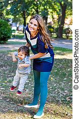 母 と 息子, 遊び, 中に, ∥, 秋, 公園